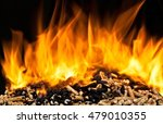 burning wood pellet with flame | Shutterstock . vector #479010355