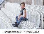 Stylish Little Boy Sitting Wit...