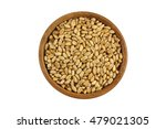 Small photo of Top view of dried Wheat Berries in wooden bowl. Dry wheat berry isolated on white background.