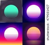 80s retro sci fi sunset... | Shutterstock .eps vector #479031427
