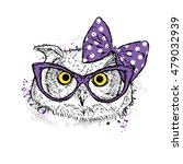 cute owl with bow and glasses.... | Shutterstock .eps vector #479032939