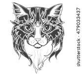 cat head. hand drawn ink cat...   Shutterstock .eps vector #479033437