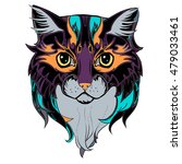 decorative cat's face.... | Shutterstock .eps vector #479033461