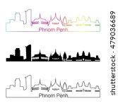 phnom penh skyline linear style