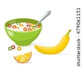 tasty cornflakes in green bowl... | Shutterstock .eps vector #479061151