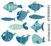 vector set of cute hand drawn... | Shutterstock .eps vector #479090491