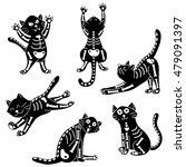 Stock vector vector set of cats wearing halloween costumes of skeleton 479091397