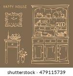 vintage interior of old kitchen.... | Shutterstock .eps vector #479115739