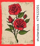 vector tattoo roses with leaves ... | Shutterstock .eps vector #479122201