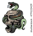 vector skull with snake on... | Shutterstock .eps vector #479122429
