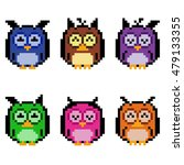 illustration of pixel owls.... | Shutterstock .eps vector #479133355