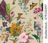 vector seamless vintage floral... | Shutterstock .eps vector #479133397
