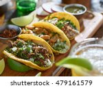 mexican street tacos in yellow... | Shutterstock . vector #479161579