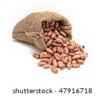 burlap sack with red beans...