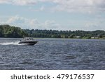 High Speed Boat On Lake Moving
