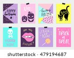 8 halloween cards set in quirky ... | Shutterstock .eps vector #479194687