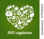 100   vegetarian. concept heart ... | Shutterstock . vector #479200141
