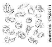 set doodles elements vegetables ... | Shutterstock .eps vector #479202541