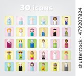 women.color set of people icons.... | Shutterstock .eps vector #479207824
