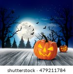 halloween spooky background.... | Shutterstock .eps vector #479211784