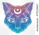 black cat head portrait with...   Shutterstock .eps vector #479229817