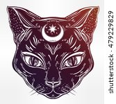 black cat head portrait with... | Shutterstock .eps vector #479229829