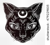black cat head portrait with... | Shutterstock .eps vector #479229835