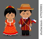 chileans in national dress with ... | Shutterstock .eps vector #479250001