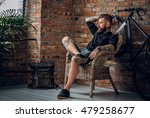 portrait of a bearded hipster... | Shutterstock . vector #479258677
