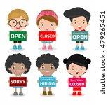 children holding signs  open ... | Shutterstock .eps vector #479265451