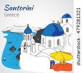 santorini outline sketch  ... | Shutterstock .eps vector #479281321