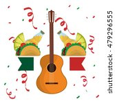 tequila guitar and taco .... | Shutterstock .eps vector #479296555