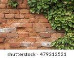 Closeup Of Brick Wall With Ivy...