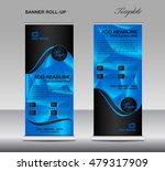 blue roll up banner template... | Shutterstock .eps vector #479317909