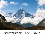 Mount Ama Dablam Within Clouds...