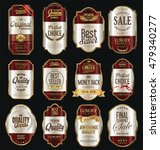 retro vintage labels silver and ... | Shutterstock .eps vector #479340277