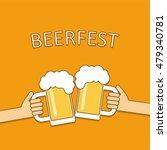 beer festival logo. two hands...   Shutterstock .eps vector #479340781