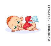 naked newborn baby tied with... | Shutterstock .eps vector #479344165