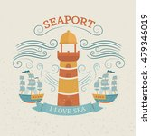vintage labels with lighthouse... | Shutterstock .eps vector #479346019