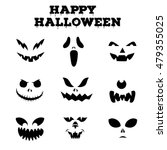 Stock vector collection of halloween pumpkins carved faces silhouettes black and white images template with 479355025
