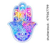 ornament card with hamsa.... | Shutterstock .eps vector #479367799