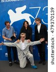 Small photo of Actors Reda Kateb, Sophie Semin, director Wim Wenders and actor Jens Harzer at the photocall for Les beaux jours d'aranjuez at the 2016 Venice Film Festival. September 1, 2016 Venice, Italy