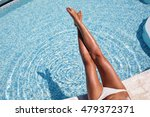 woman's legs at the blue pool... | Shutterstock . vector #479372371