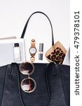 female handbag content.  | Shutterstock . vector #479378101