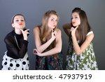 three happy retro styled girls | Shutterstock . vector #47937919