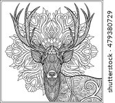 coloring page with deer in... | Shutterstock .eps vector #479380729