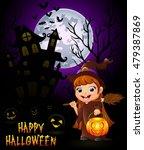 little witch cartoon holding... | Shutterstock . vector #479387869