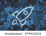 Small photo of Business Start-up Goals Rocketship Graphic Concept