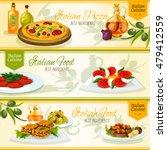 italian cuisine pizza  lasagna  ... | Shutterstock .eps vector #479412559