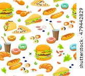 fast food seamless pattern with ... | Shutterstock .eps vector #479442829